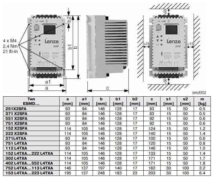 Частотный преобразователь Lenze ESMD152L4TXА (380В, 3ф, 1,5кВт) .